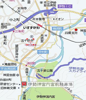 1伊勢神宮 内宮前駐車場地図